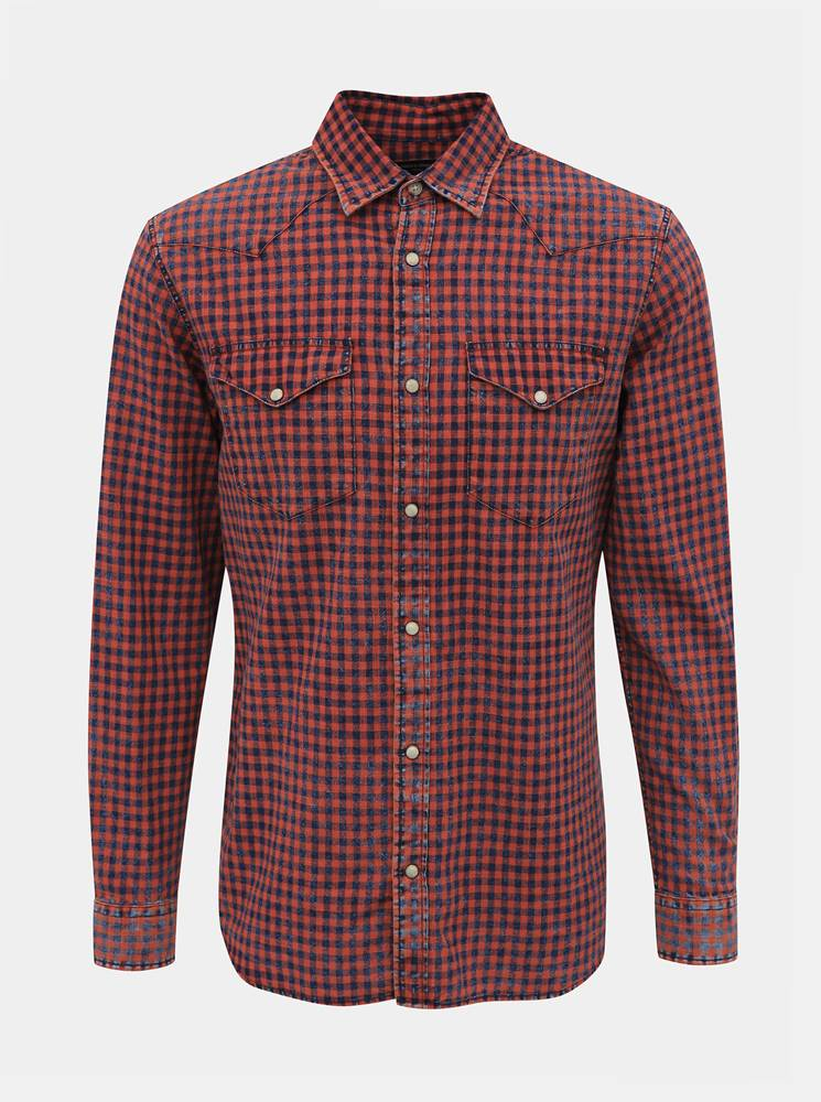 Jack & Jones Červená kockovaná slim fit košeľa Jack & Jones Weston